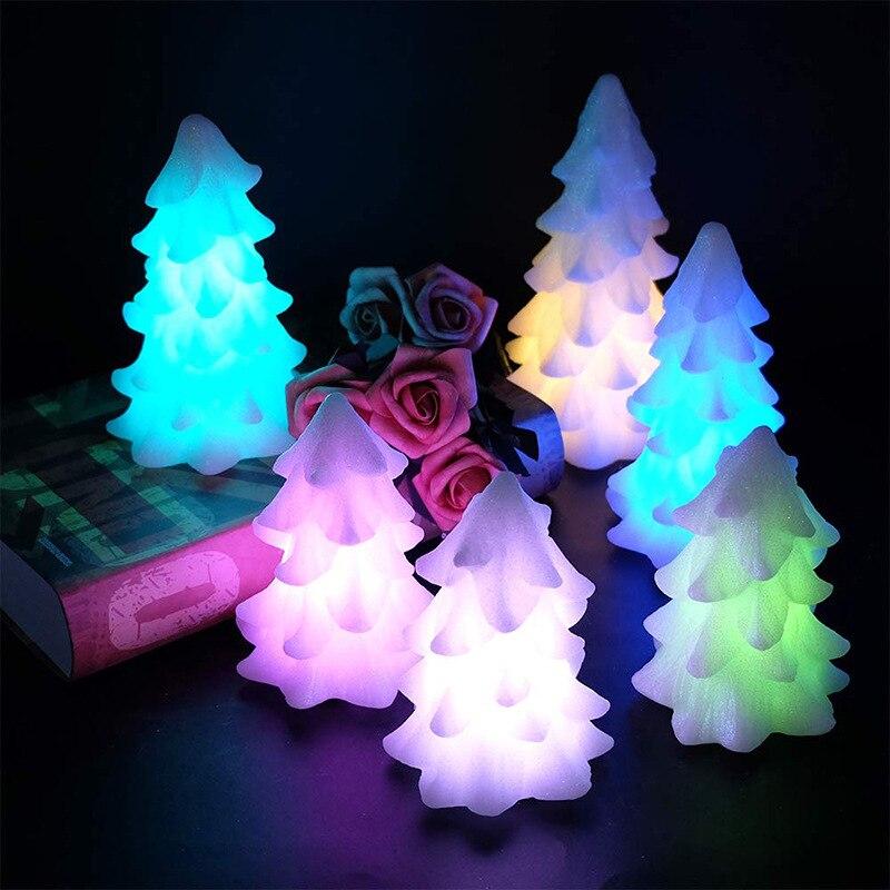 Cire de paraffine chaude sept couleurs arbre de noël LED bougie 6 pièces Style européen et américain décorations de noël électronique Cand