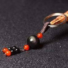 Брелки с радужным обсидианом настоящий камень красным сердоликом