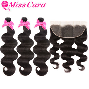 Image 3 - Peruvian Body Wave Bundles With Frontal 100% Human Hair 3/4 Bundles With Frontal Miss Cara Remy Hair Bundles With Frontal