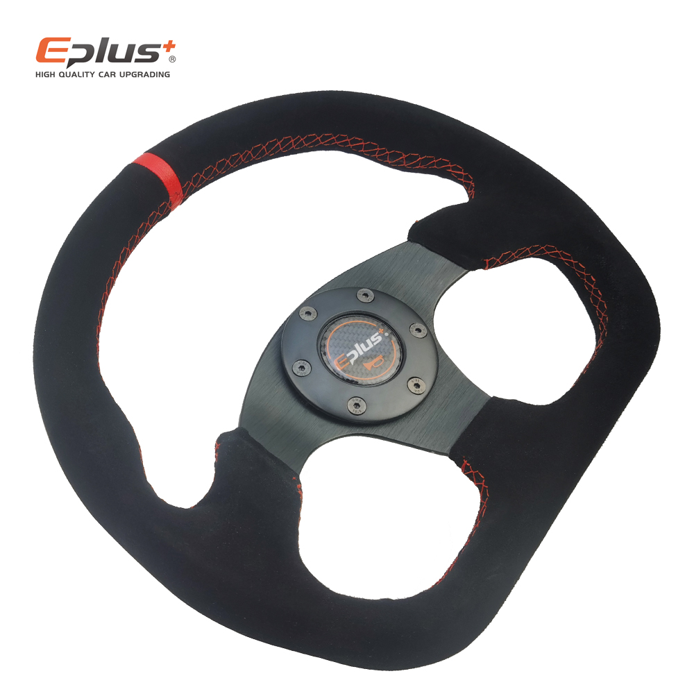 EPLUS Car-styling Sport Steering Wheel Racing Type Alcanta PVC Universal 13 Inches325MM Aluminum Retrofit Modified For Omp Style