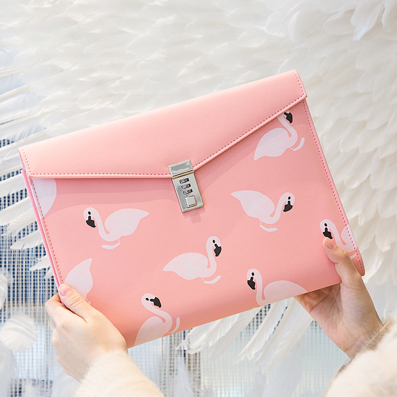 Cute Flamingo File Package Double Layer PU Material With Password Lock Briefcase Ipad Document Contract Storage Office Supplies