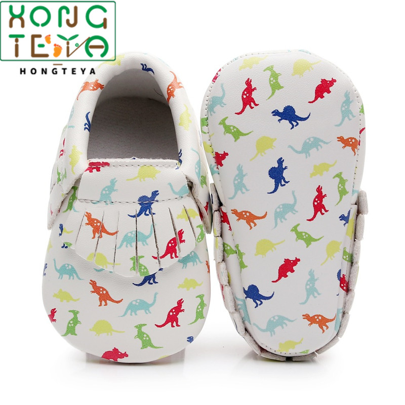 Dinosaur Printing Baby Shoes Boys Toddler Shoes Baby Moccasins 0-3 3-6 6-12 12-18 18-24M Soft Leather First Walkers Bebe Shoes
