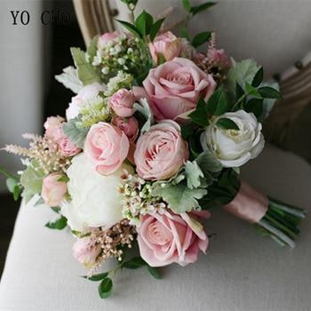 Rose Bianche Artificiali   YO CHO Da Cerimonia Nuziale Della Sposa Bouquet Fatti A Mano Rosa Della Seta Artificiale Respiro Del Bambino Fiore Rosa Bianco Di Lusso Bouquet Forniture Di Nozze