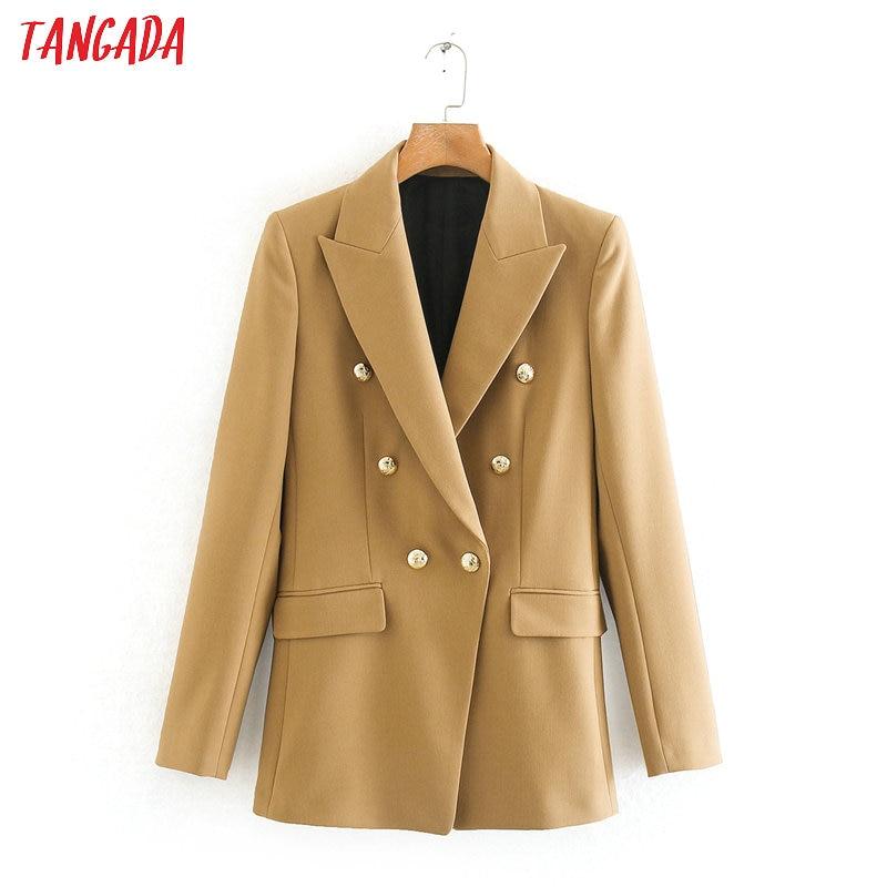 Tangada Women Vintage Khaki Blazer Female Long Sleeve Elegant Jacket Ladies Work Wear Blazer Formal Suits 2XN06