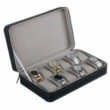 6/10/12 Slots PU Leather Jewelry Watch Box Case Elegant Wris