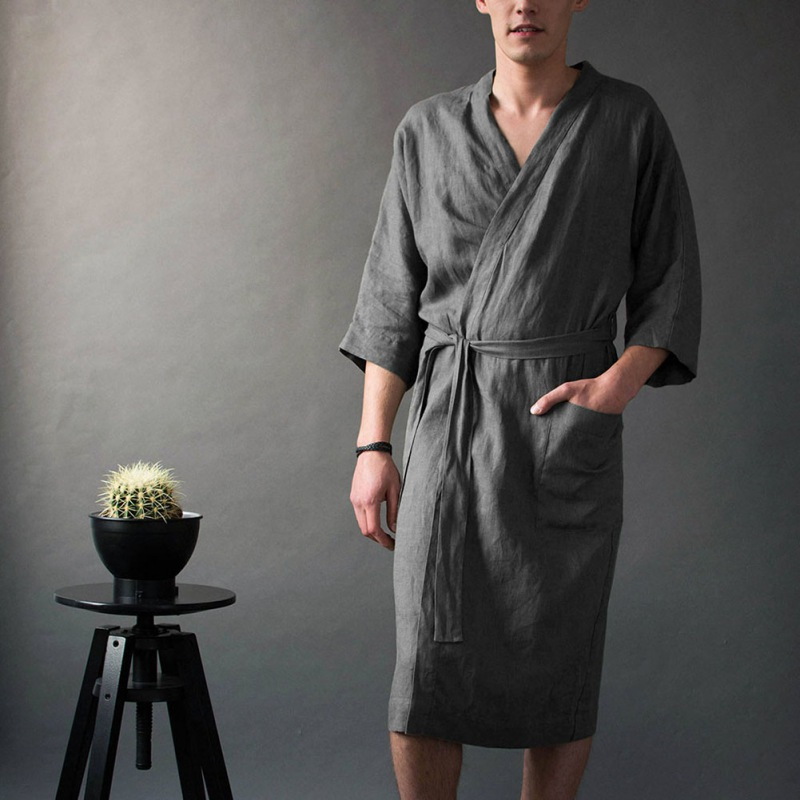 Fashion Men's Long Belt Nightgown With Pocket Solid Color Linen Nightgown Five-point Sleeve Casual Gown