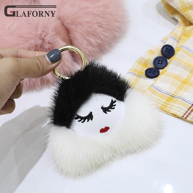 2019 porte-clés véritable nouvelle mode femmes importation vison cheveux rouge lèvres fille pendentif en peluche sac ornement fourrure porte-clés
