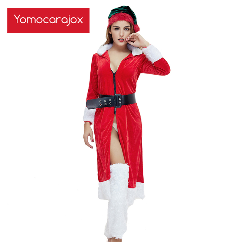 Warm <font><b>Sexy</b></font> <font><b>Outfit</b></font> Cosplay <font><b>Christmas</b></font> <font><b>Costumes</b></font> Festival Santa Uniform Long Dress For Women Hot Suits With Hat Ropa Erotica Mujer image