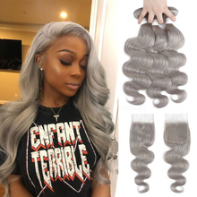 Body-Wave-Bundles Hair-Extensions Closure Human-Hair Grey Silver SOKU Brazilian