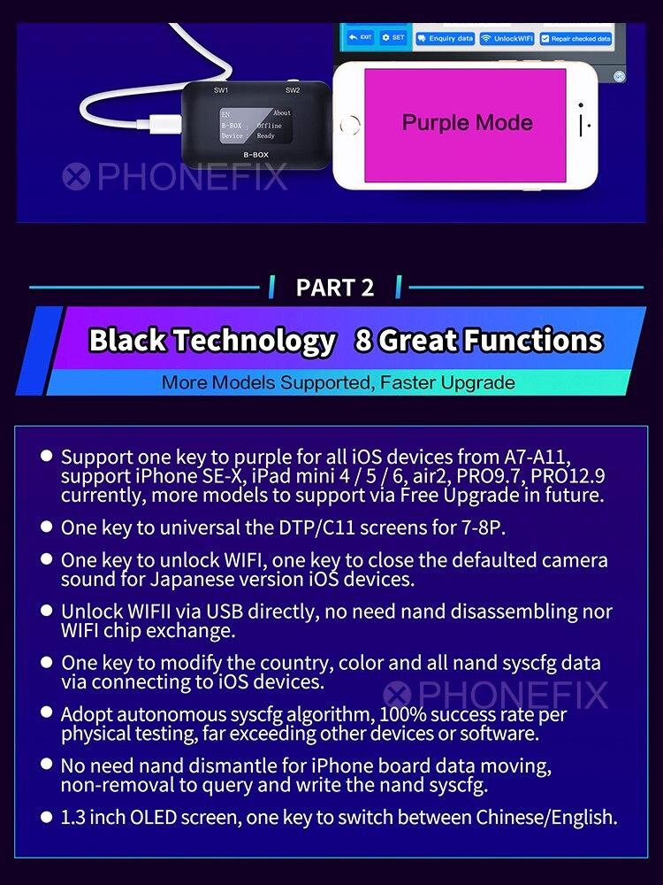 Window-Dcsd-Cable NAND Modify B-BOX iPad DFU Purple JC Unlock iPhone C3 To for IOS A7-A11