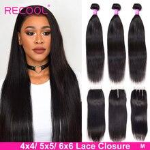 Recool düz saç demetleri ile kapatma 5x5 6x6 dantel kapatma ve demetleri brezilyalı insan saçı örgüsü 3 demetleri kapatma ile M
