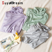 SuyaDream Women T shirt Real Silk Basic Turtleneck Long sleeve Solid Bottoming shirt FALL WINTER Green Plus size Spandex top