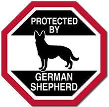 Amerikaanse Vinyl Octangular Beschermd Door Duitse Herder Sticker Grappige Hond Ras Liefde