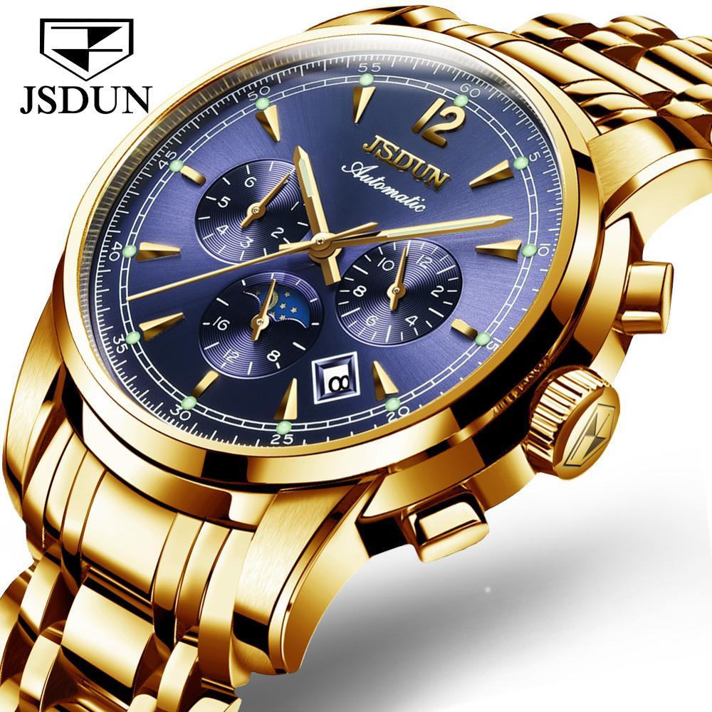JSDUN Men Watch automatic Mechanical Multifunction watch calendar Luxury Watch Waterproof Luminous For Men Business Watch
