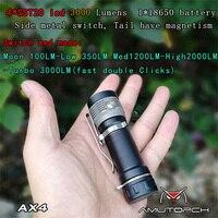 تميمة أحدث AX4 4x SST20 4000LM 5 طرق ستبليس يعتم قوي 18650 EDC مصباح يدوي في الهواء الطلق مصباح صغير ، الصلبة والمدمجة