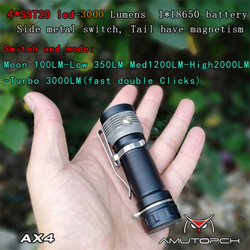 Amutorch Newest  AX4 4x SST20 4000LM 5 Modes Stepless Dimming Powerful 18650 EDC Flashlight Outdoor Mini Torch,Solid And Compact