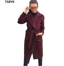 TAOVK damskie kurtki i płaszcze średni długi pas wełna i płaszcz z mieszanki skręcić w dół kołnierz jednokolorowe kieszenie Parka