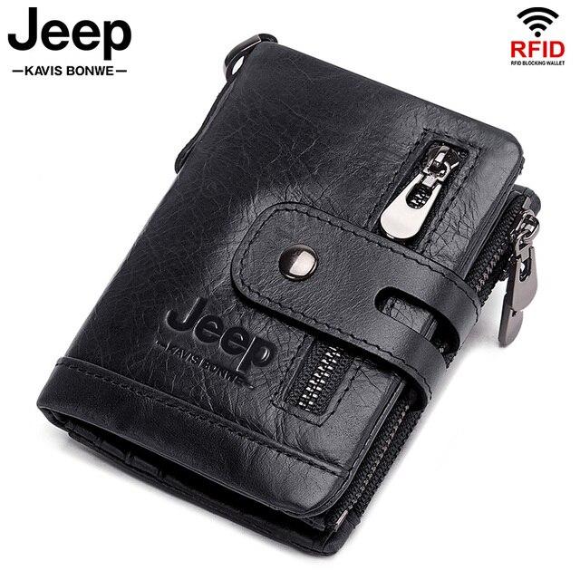 100% Cowhide Genuine Leather Men Wallet Coin Purse Small Mini Card Holder Chain PORTFOLIO Portomonee Male Walet Pocket Chain 1