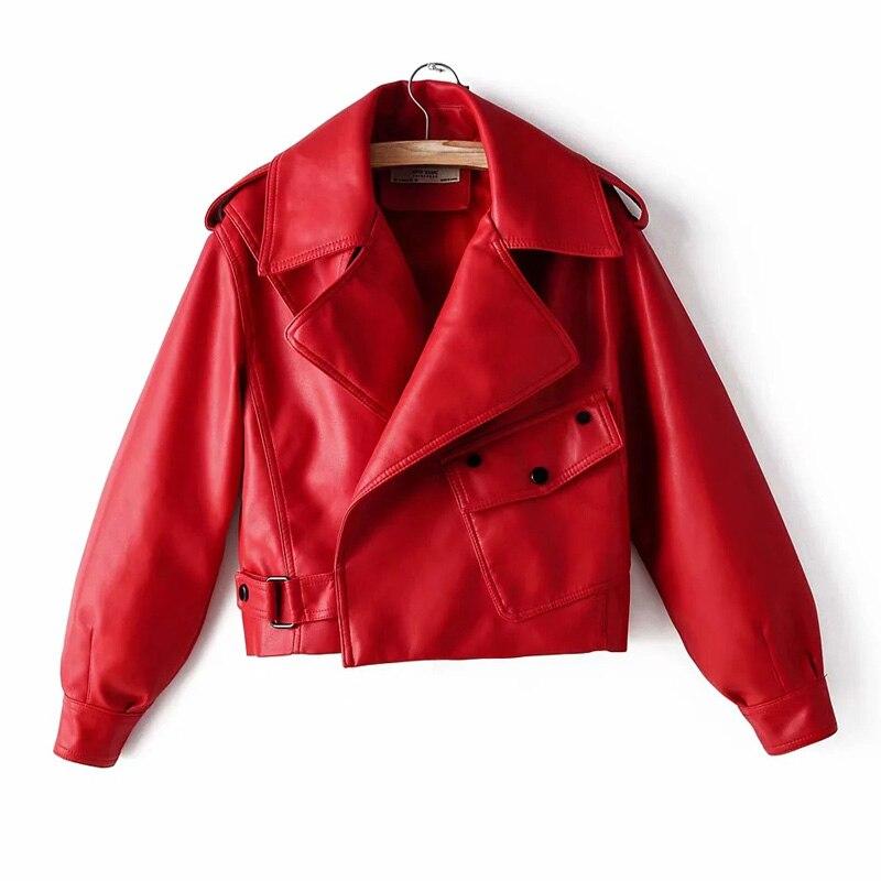 Black Red Women Faux Leather Jacket Pu Motorcycle Biker Coat Turn Down Collar Soft Faux Ladies Punk Outerwear Loose Streetwear