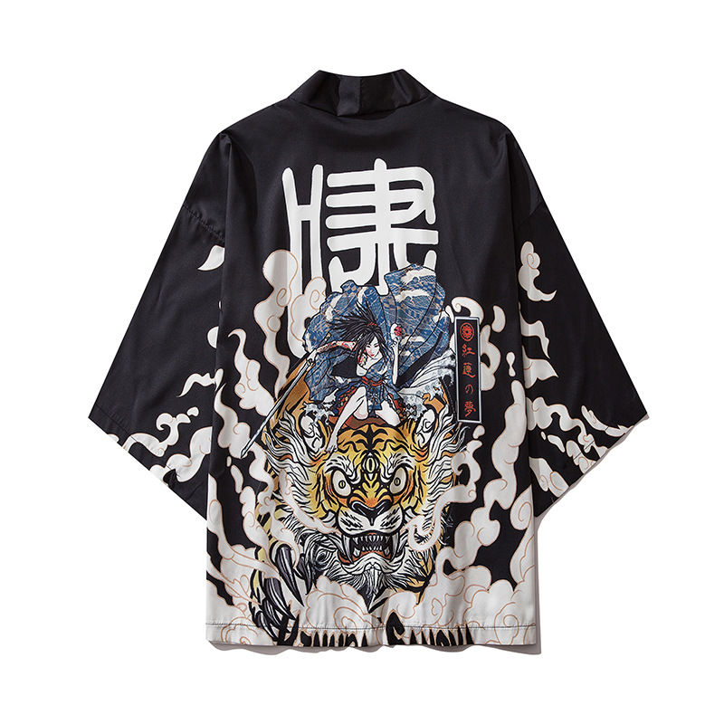 Japanese Style Tiger Kimono Tokyo Streetwear Haori Men Women Cardigan Japan Girl Robe Chinese Dragon Anime Clothes