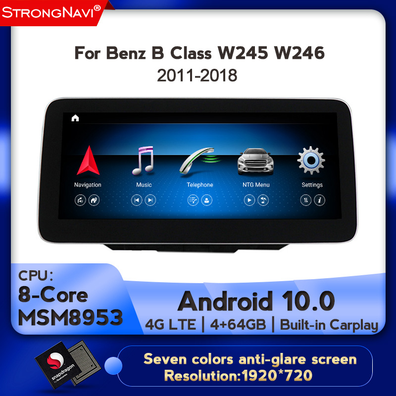 1920*720 Android10.0 4G lte Car radio Multimedia Player for <font><b>Mercedes</b></font> Benz B Class W245 <font><b>W246</b></font> 2011-2018 4+64G WIFI BT 8core 4+64G image