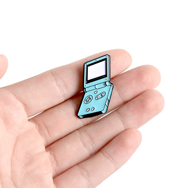 Konsol Permainan Genggam Enamel Pin Kustom Bros Kerah Pin Kemeja Tas Biru Permainan Lencana Perhiasan Hadiah untuk Anak-anak Teman