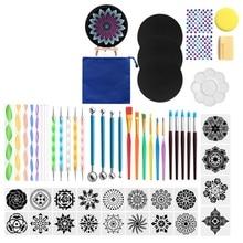 Dotting-Tools Painting Mandala for Rock-Stone Stencil Acrylic Stick Easel-Palette Sponge-Kit