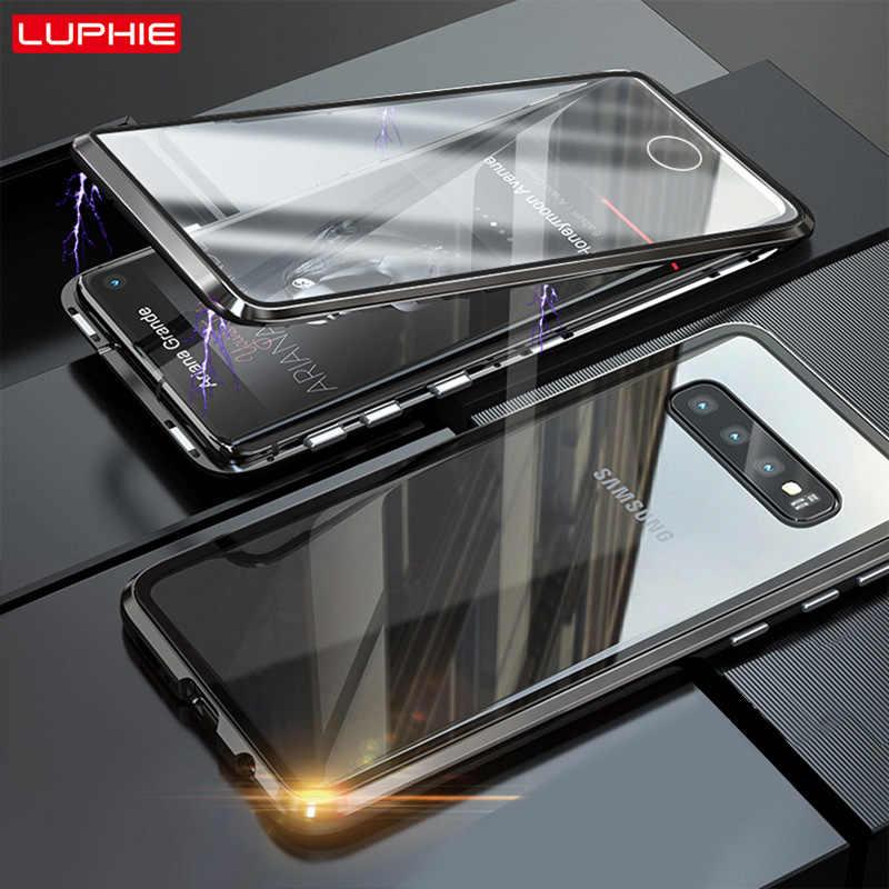 LUPHIE 360 度フル三星 S10 プラス S10e 前面背面ガラス三星 S10 マグネットケース