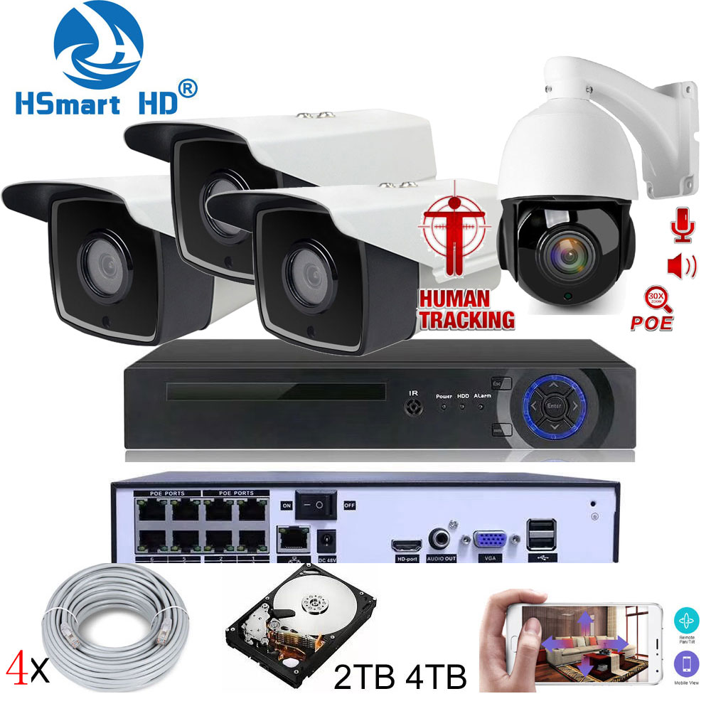 8CH 5MP HD NVR POE Kit CCTV, sistema de seguridad con Audio de dos vías AI Auto Tracking PTZ 30X cámara IP al aire libre P2P Video vigilancia Cam Micro cámara de vídeo CCTV inalámbrica para el hogar, Mini vigilancia de seguridad con Wifi, cámara IP, cámara para teléfono, cámara ipcámara con Sensor de movimiento Wai Fi