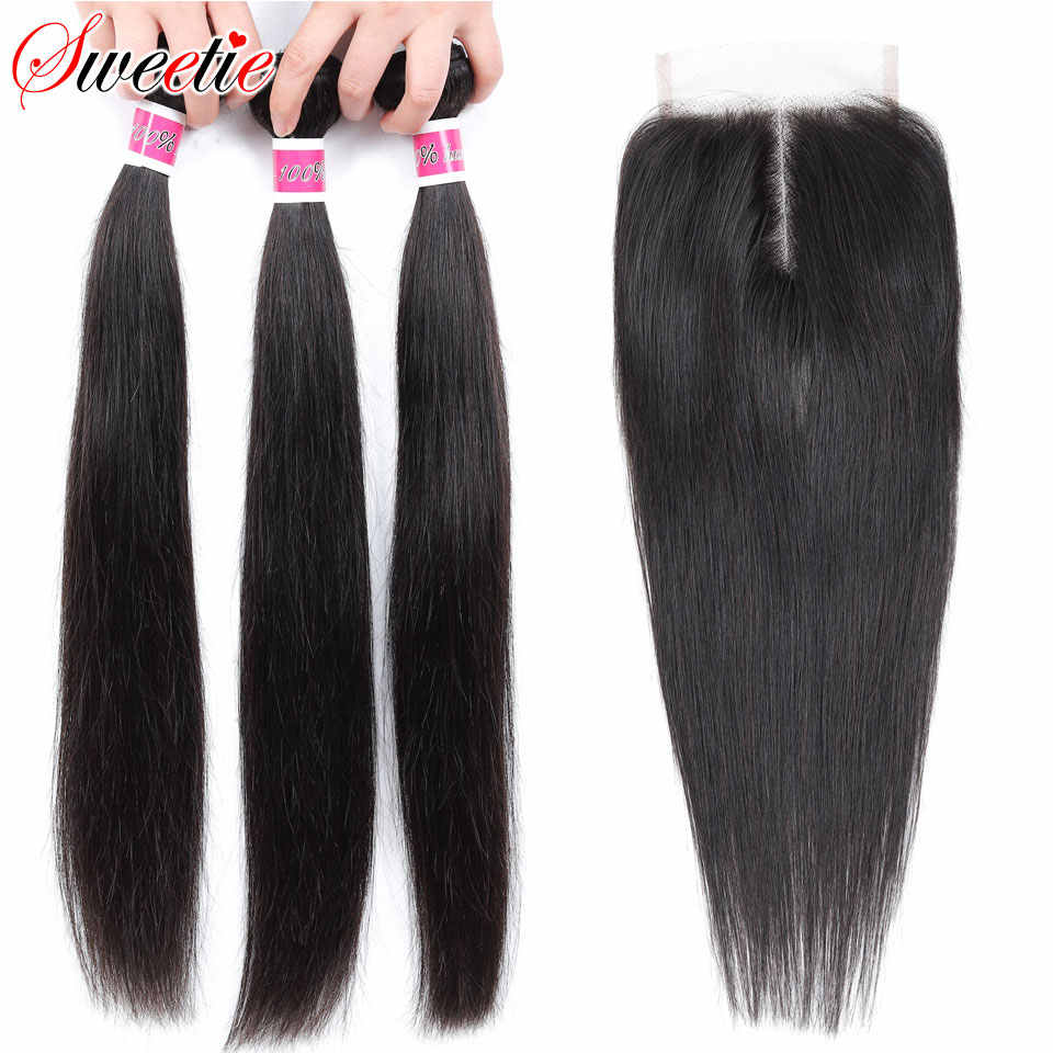 Sweetie Hair Peruvian Straight Hair Bundles With Closure Middle Part Non-Remy 100% Human Hair 3 Bundles With Lace Closure