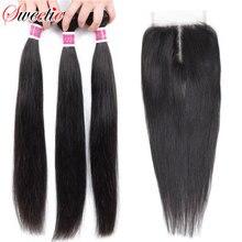 סוויטי שיער פרואני ישר שיער חבילות עם סגירת אמצע חלק שאינו רמי 100% שיער טבעי 3 חבילות עם סגירת תחרה