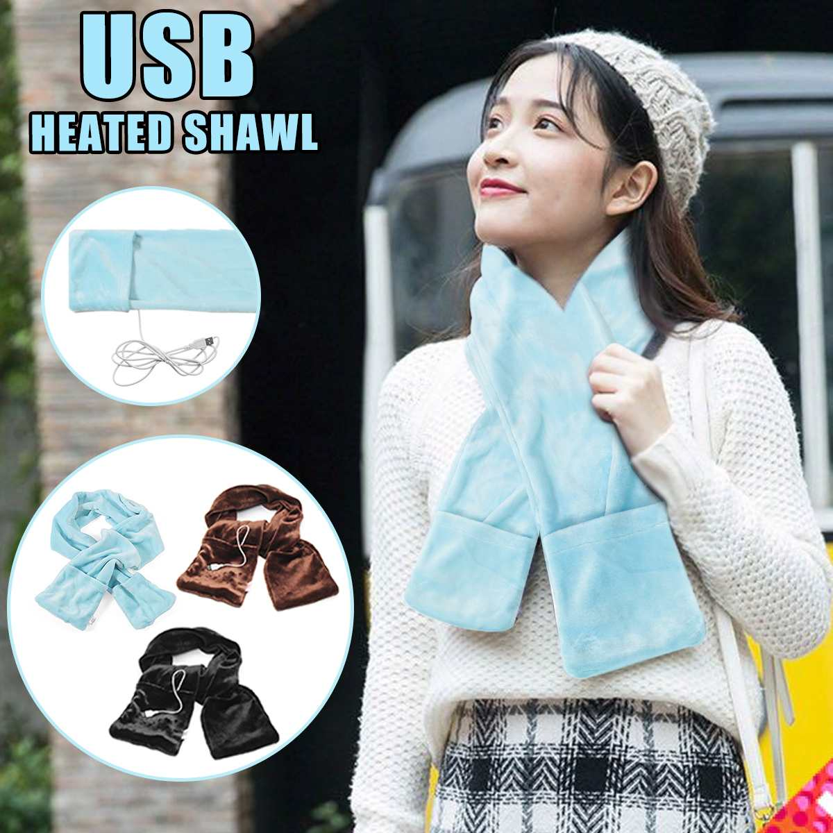 Manta de calentamiento eléctrico almohadilla de cuello de hombro chal de calefacción móvil USB suave 5V Invierno Caliente mano caliente manta caliente