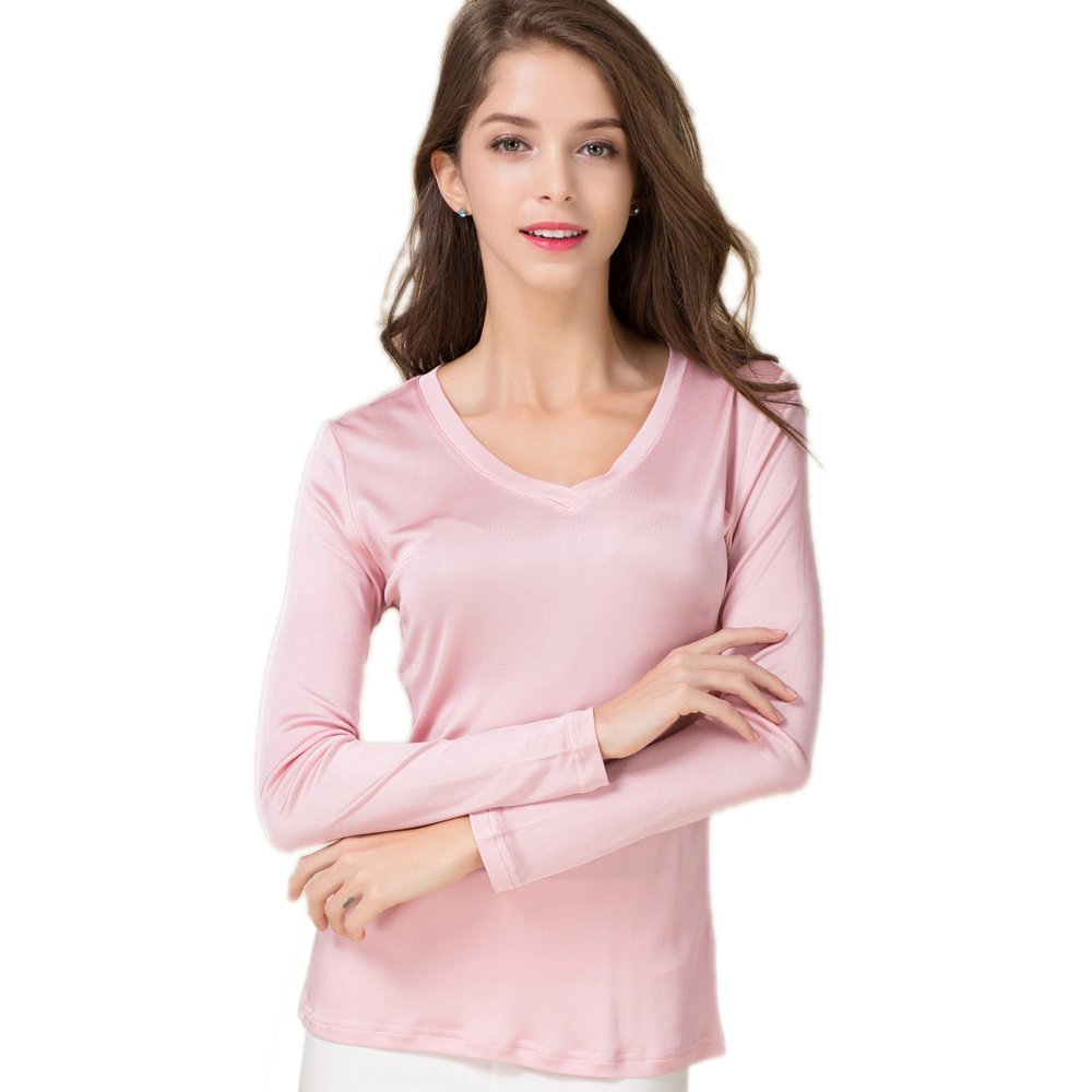 100% Pure Silk Women V Full Sleeve T-Shirts 2016 New Autumn Winter Bottoming Tee Shirt Solid Basic Female Casual V Neck Tops