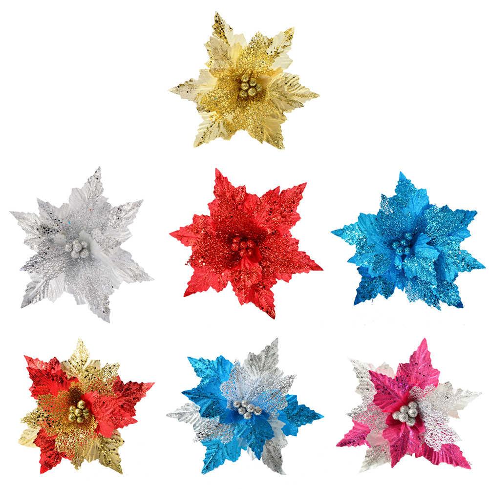 1 PC Glitter Chic Pohon Natal Buatan Bunga Gantung Dekorasi Bunga Pesta Tahun Baru Natal Pohon Natal Dekorasi