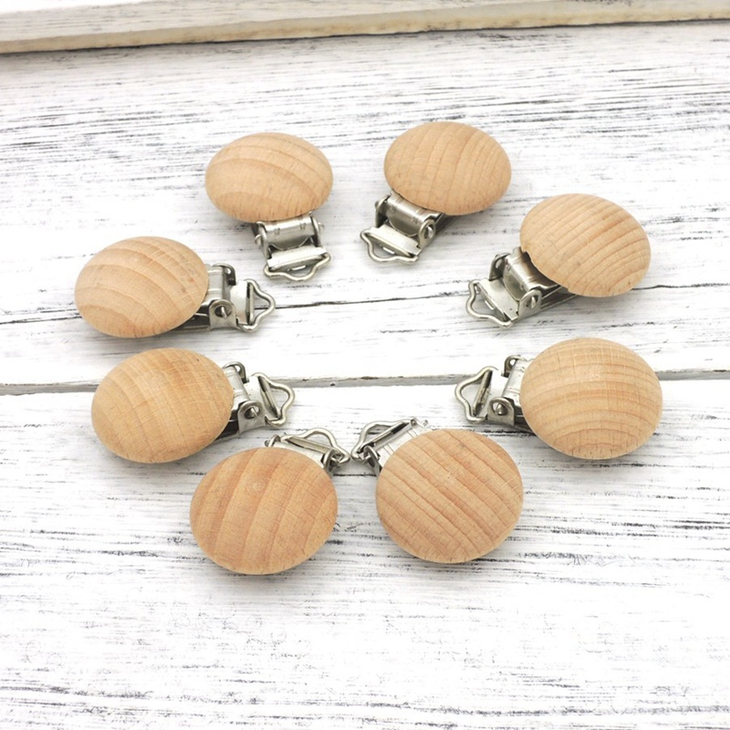 20Pcs Beech Wood Pacifier Clips Beech Wooden Round Natural Color for Baby