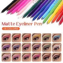 18 Colors Matte Eyeliner Pen Set Waterproof Long Lasting Eyeliner Pencil Highly Pigmented Makeup Birthday Wedding Gift For Girls