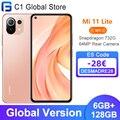 Новинка! Глобальная версия Xiaomi Mi 11 Lite 6 ГБ 128 мобильный телефон Snapdragon 732G NFC 64MP тыловая камера 33 Вт Быстрая зарядка NFC