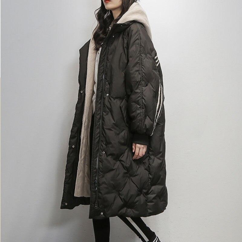 Куртка пуховик на утином пуху женский 2020 Новинка зимы размера плюс свободная длинная куртка в Корейском стиле; Модная вязаная шапка с имитацией двух отдельных изделий для женщин пальто A36|Парки| | АлиЭкспресс