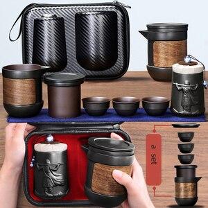 Image 1 - Yixing fioletowy piasek zestaw herbaty czarny/czerwony ceramiczny czajniczek kung fu gaiwan fioletowy piasek czajniczek filiżanka herbaty ceremonia podróży przenośne Teaset