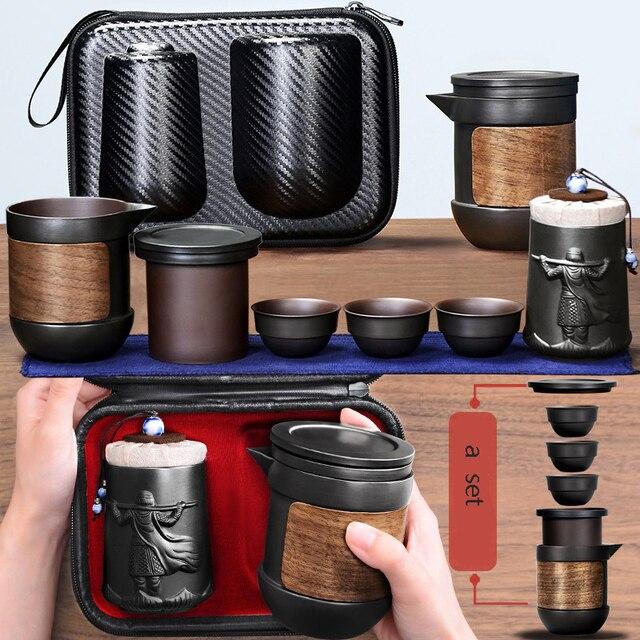 Yixing fioletowy piasek zestaw herbaty czarny/czerwony ceramiczny czajniczek kung fu gaiwan fioletowy piasek czajniczek filiżanka herbaty ceremonia podróży przenośne Teaset