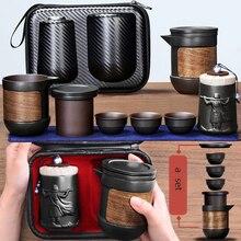 Yixing mor kum çay seti siyah/kırmızı seramik kung fu demlik gaiwan mor kum demlik çay fincanı çay töreni seyahat taşınabilir çay seti