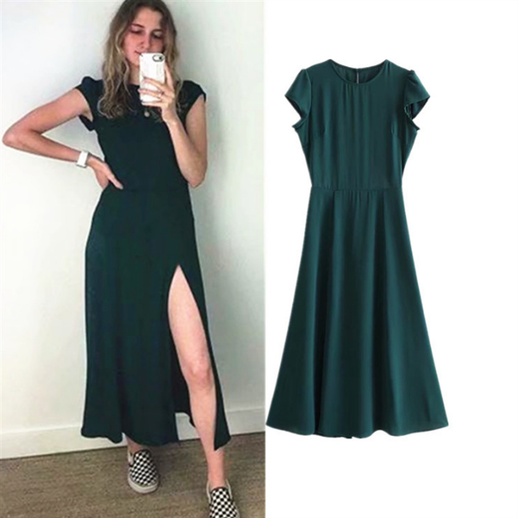 Europe And America 2019 Spring And Summer New Style French Solid Color Backless Slit Dress