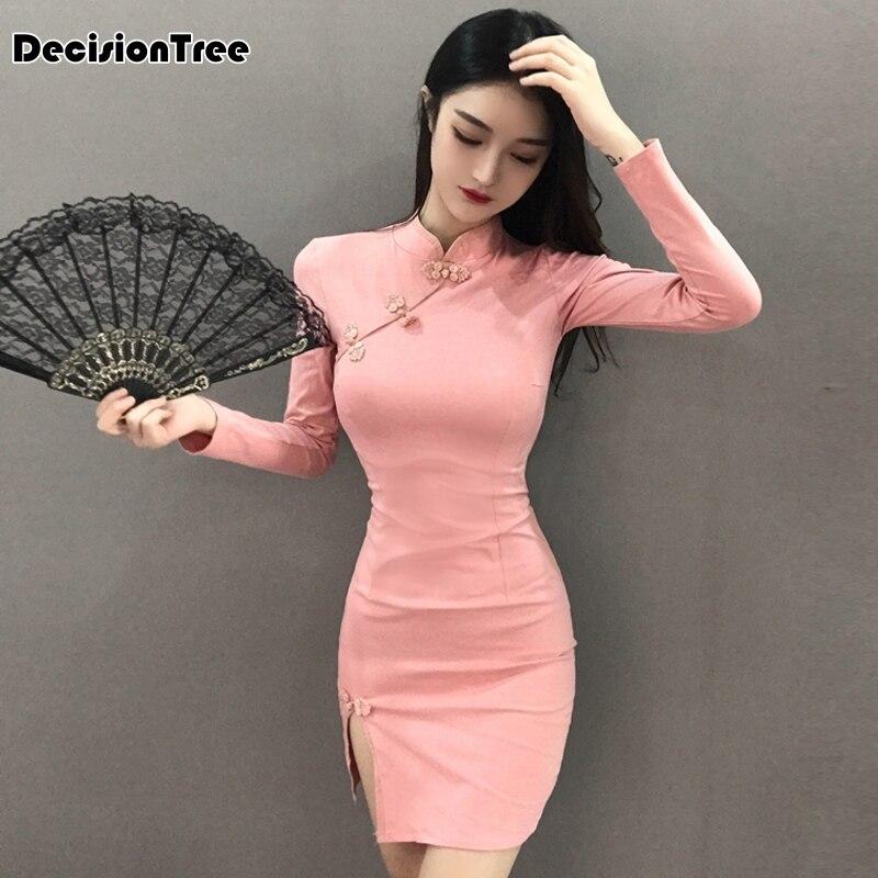 2020 Chinese Dress Elegant Qipao Dress For Women Sexy Side Split Cheongsam Short Qipao Vestidos Oriental Evening Party Dress