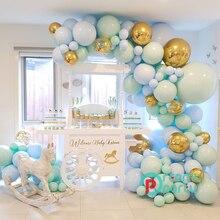 Ballons Pastel bleu Macaron en arc, 124 pièces/ensemble, guirlande avec confettis, décoration pour mariage, fête prénatale, anniversaire