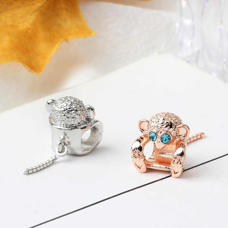 Dropshipping musujące Pave małpa Charms koraliki Fit oryginalny Pandora bransoletki i naszyjniki do samodzielnego robienia biżuterii akcesoria