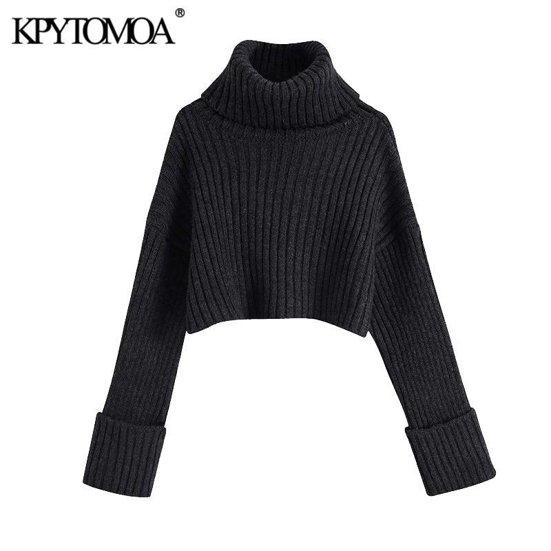 Kpytomoa Women 2020 Fashion Thick Warm Cropped Knitted Sweater Vintage High Neck Long Turn Up Sleeves Female Pullovers Chic Tops Super Offer 7849e Cicig