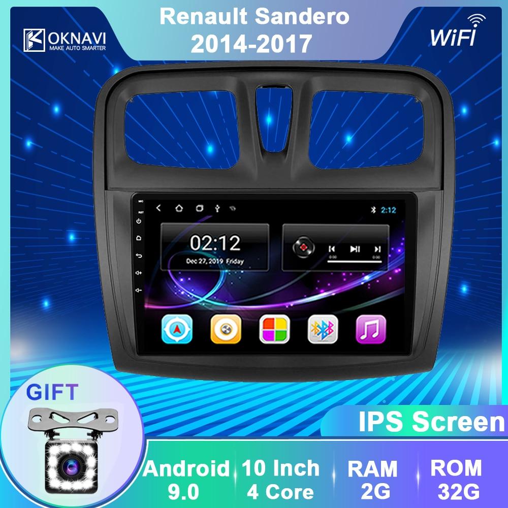 Автомобильный плеер OKNAVI, Android 9,0, GPS-навигация, мультимедиа, для Renault Sandero Symbol 2014-2017, радио, стерео, Wi-Fi, без Dvd