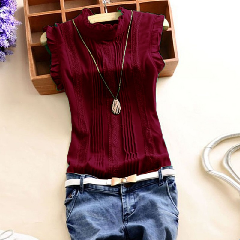 Summer Vogue Women Ruffle Sleeveless O Neck   Blouse   Slim Fitted   Shirts   Casual Office Lady Burgundy   Blouses   Tops