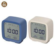 Youpin كليرغراس بلوتوث ميزان الحرارة الرقمي درجة الحرارة والرطوبة مراقبة ساعة تنبيه ضوء الليل 3 في 1 على مدار الساعة