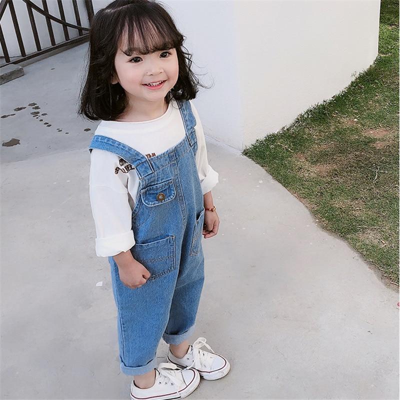 design de qualité 85cc3 6f620 2019 enfants automne vêtements bébé filles combinaison pour enfants fille  denim salopette 4 6 8 ans fille jeans pantalon enfants